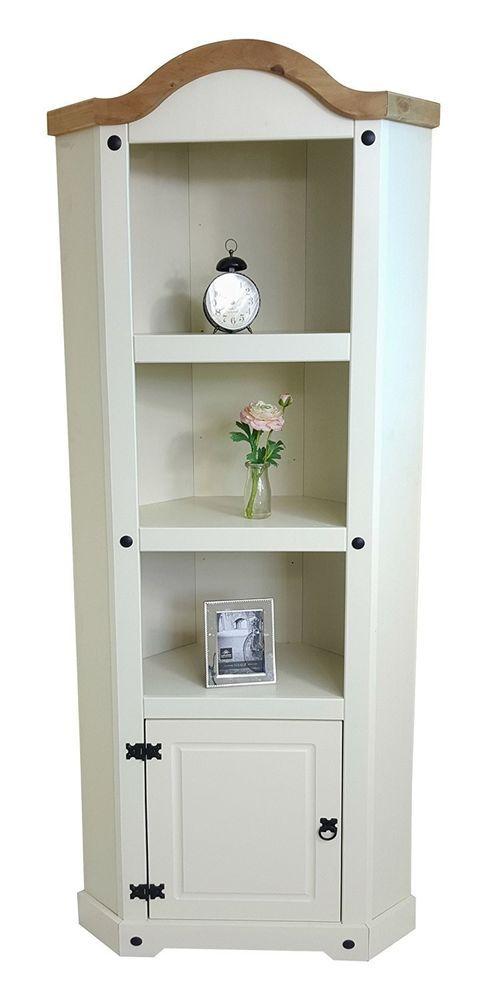 Wooden Display Cabinet Corner Cream Antique Storage Cupboard Book Shelves Home    eBay