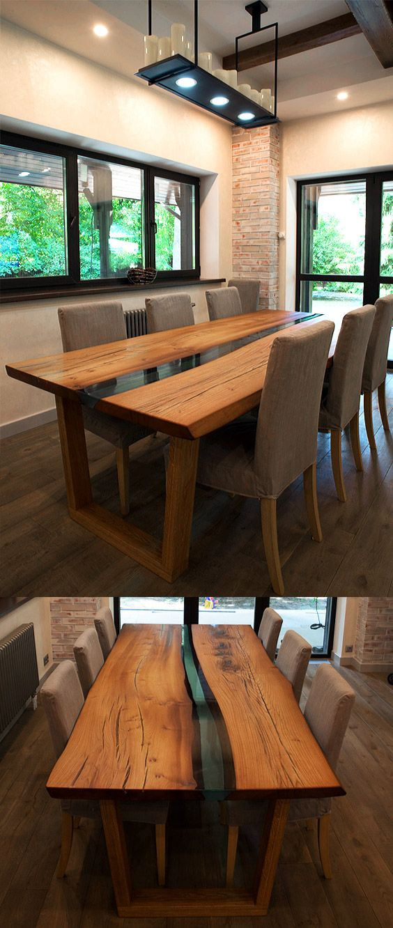 Wooden table in modern River style.   A large dining table is entirely made of solid wood Karagach with a live edge. The table is free to accommodate 8 people.   Slabs of wood have been heat treated. The whole tree is covered with natural oil-wax. Manual polishing. River and all natural cracks in the woods are filled with transparent epoxy resin. The legs of the table are made of solid wood.   Elegant dining table for the whole family!
