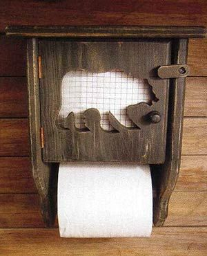 Rustic toilet paper holder with a back up plan