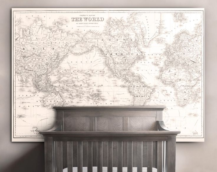 A beautiful large scale reproduction World Map by Coltons in 1852 that has a beautiful off white/peach coloring with darkened lined details. Perfect nursery room World Map or childrens World Map, and or an ascent piece in anyones home. Its made of premium 10oz. Canvas and is ready to be pinned or tacked up to any wall! Its sure to make any room in your home pop and be a discussion piece for years to come.  FRAMING: NONE of our prints come framed but all frames purchased through…