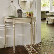 A half-moon table is great for saving space. Find all our hallway furniture and storage ideas at http://www.thedormyhouse.com/catalogue/hallway