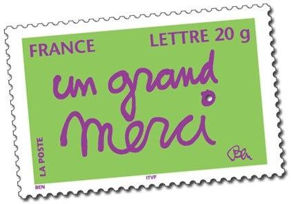 Un timbre décoré par l'artiste Ben