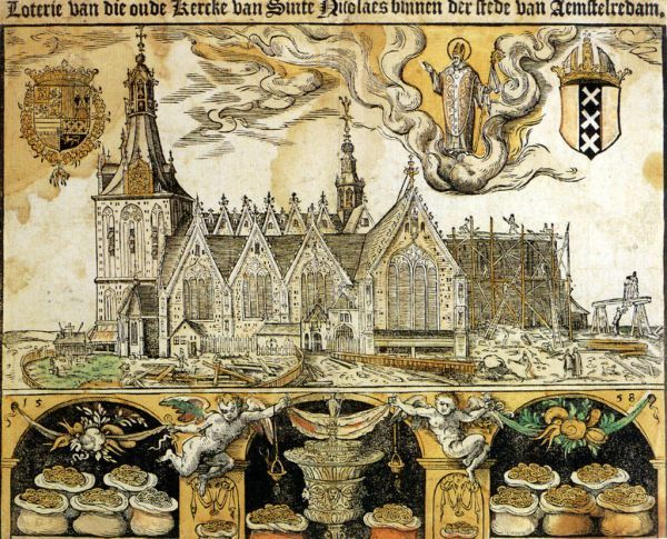 Deze prent werd in 1558 gemaakt om geld in te verzamelen voor de verhoging van het koor van de Oude Kerk. Op de prent is de bouw in volle gang, terwijl St. nicolaas vanuit de hemeleen oogje in het zeil houdt. Getuige de geldzakken in de kelder, verwachte men een grote opbrengst van de verkoop van de prent en de bijbehorende loterij.