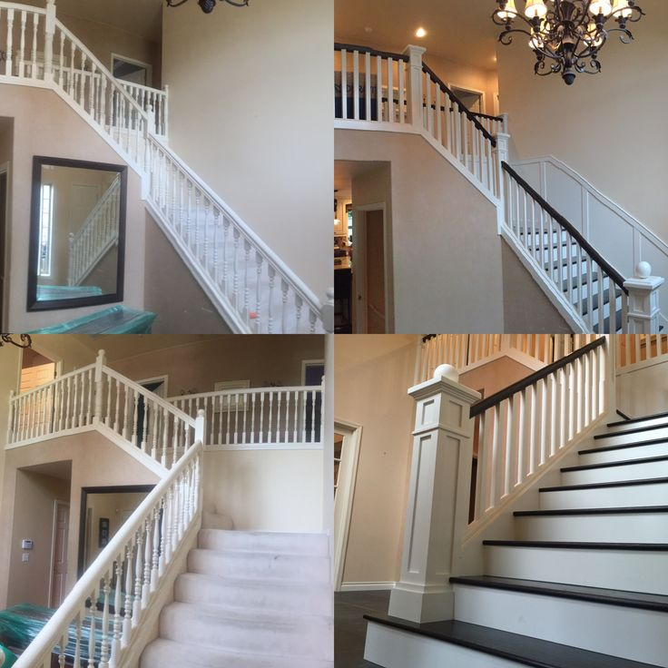 Staircase before and after.  After has dark handrail and dark treads.  Pierce family home remodel