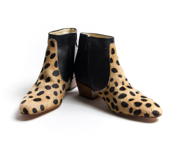 animal print beatle boots - faux leopard skin beatle boots - FREE SHIPPING