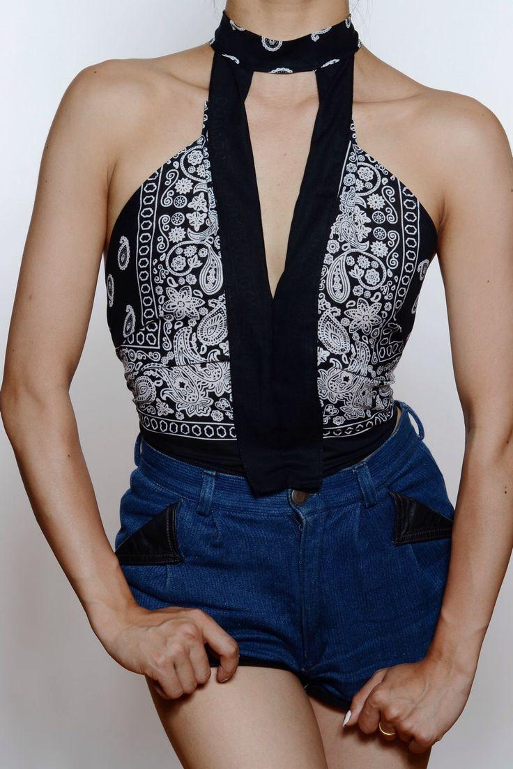 Women's Bandana Top Halter Neck Paisley Tied On Summer Casual Urban Black by ShopSneakPeek on Etsy https://www.etsy.com/listing/242525115/womens-bandana-top-halter-neck-paisley