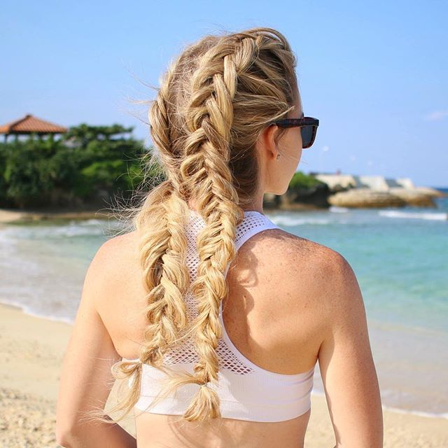 Double Dutch Fishtail Braids for walking the beach  If you'd love to learn how to create this upside down fishtail braid, click the link in my bio to watch the tutorial!  #okinawalife #okinawatrip #missysueblog