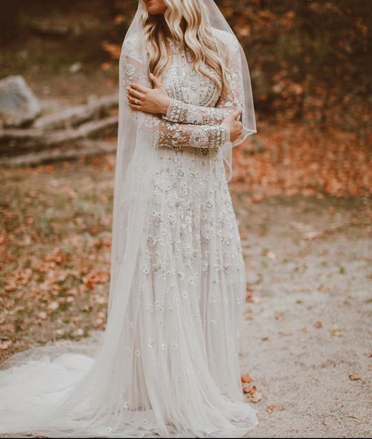 MALMROSE BRIDE, Beaded, vintage wedding dress, long sleeves, high neck, lds bride, temple wedding, blue wedding dress, grey wedding dress, utah bride, utah wedding, cathedral veil, beaded veil, fall, bridals