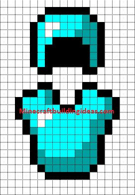Minecraft Pixel Art Templates: Diamond Armour Helmet and chest