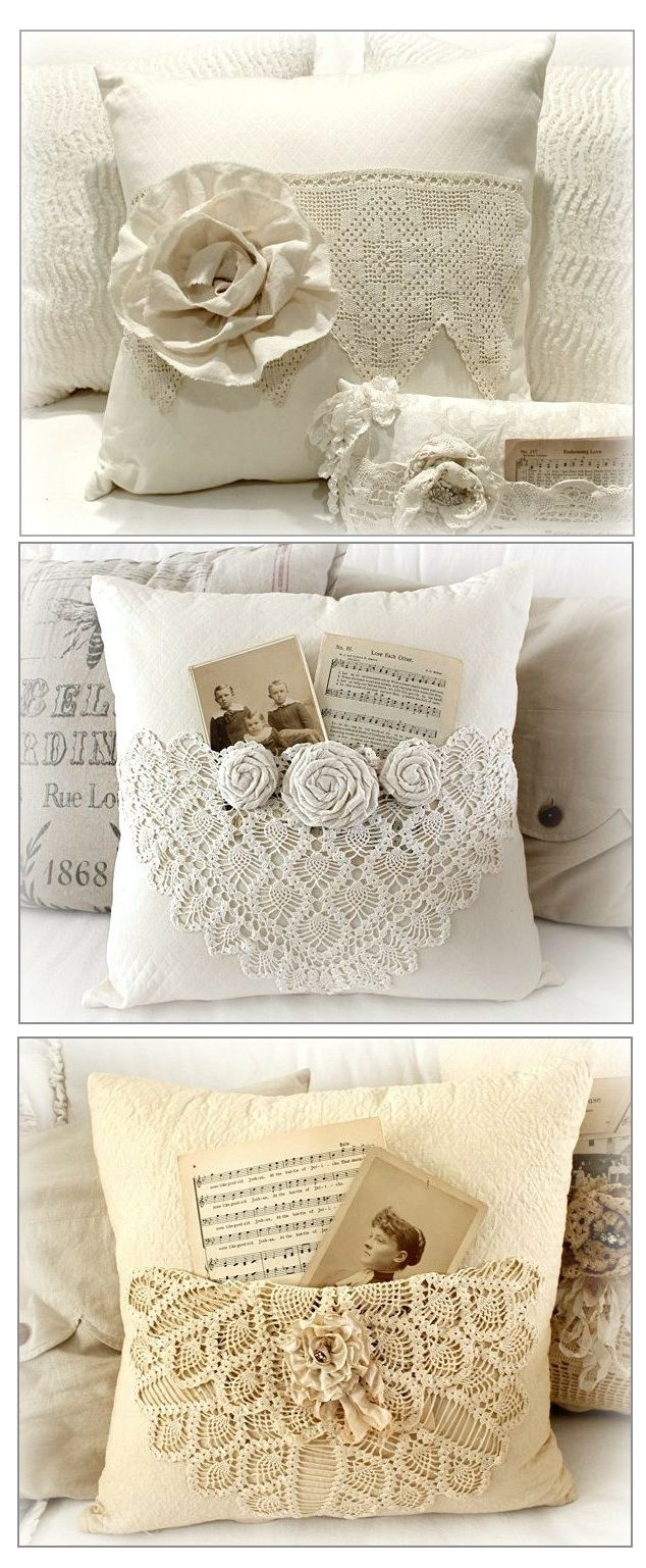Great way to repurpose crochet doilies onto pillows as pockets | for little girl's room for her dolls