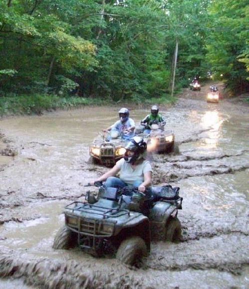 This ATV adventure was a blast! Under this water was some of the soupest mud ever. My ATV made it thru, but others needed to use the ATV winch to get out. Allegheny Recreational Rentals ATV
