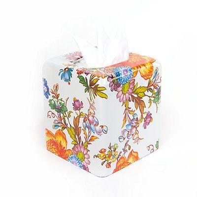 Flower Market Tissue Box Cover - White
