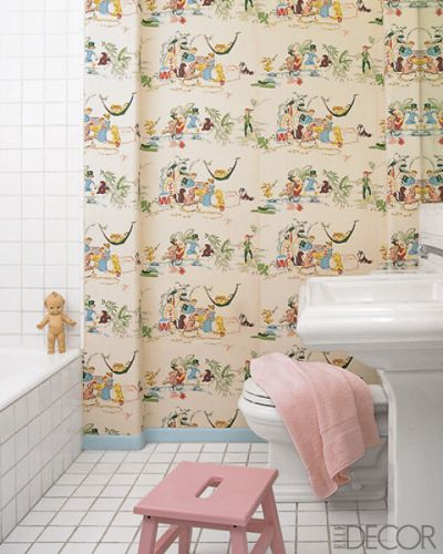 VINTAGE WALLPAPER    The bathroom of a Madeline Stuart-decorated Beverly Hills home features a vintage Peter Pan wallpaper.
