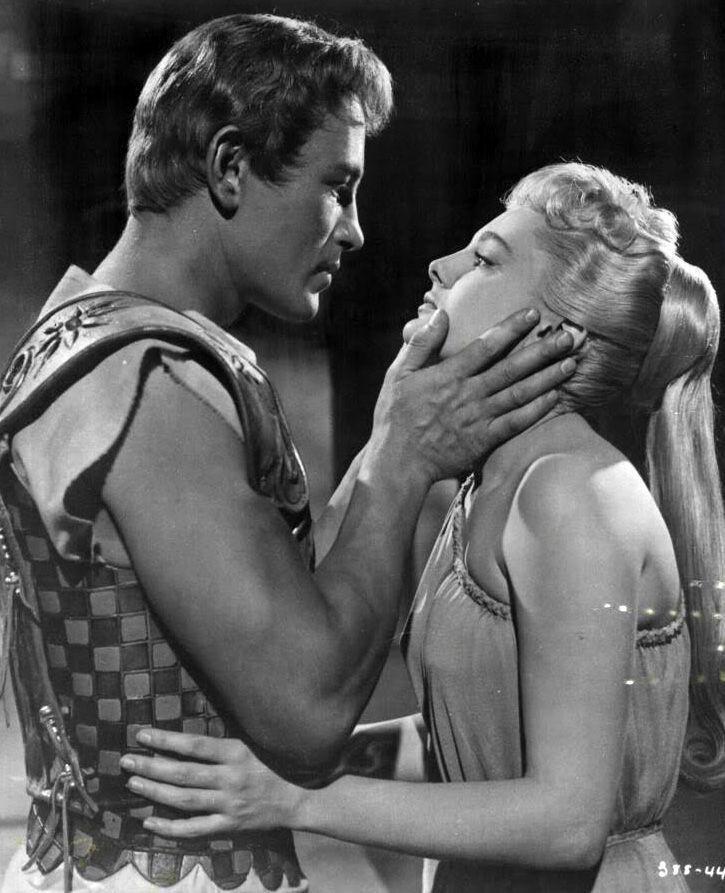 "Jacques Sernas with Rossana Podestà in ""Elena di Troia"""