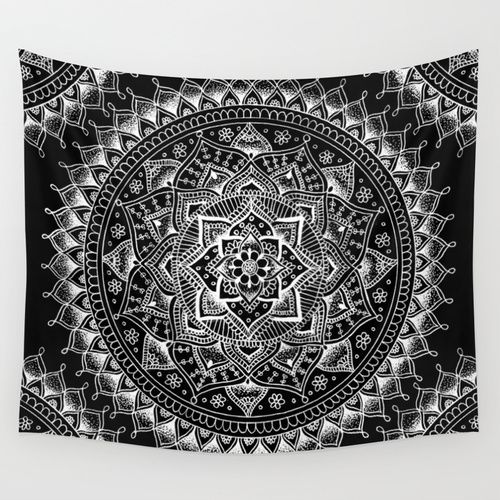 I just might buy this and throw it over a comfy, thrift store couch when I get my apartment next year. A Pinterest post of a pretty tapestry thrown over a couch inspired me. |  White Flower Mandala on Black Wall Tapestry