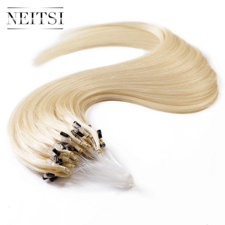 "Neitsi 20"" 1g/s 50g P24/60# Ombre Brazilian Human Hair Micro Loop Ring Keratin Hair Extensions Straight Micro Links Beads Hair"