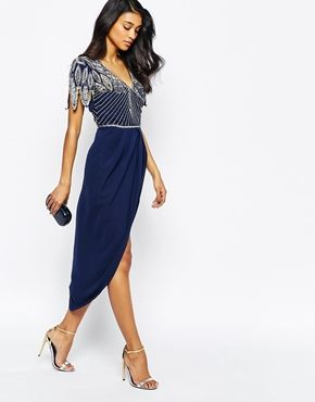 Enlarge Virgos Lounge Ursula Embellished Midi Dress With Wrap Skirt