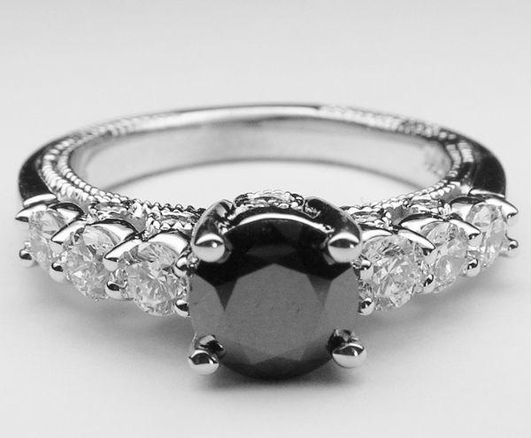 Black diamond engagement ring.