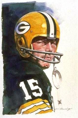 Bart Starr Green Bay Packers, painting by Merv Corning.