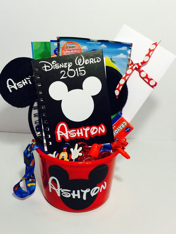 Super cute customized Disney Gift Basket to surprise your kid with. Even includes a surprise letter from Mickey or Minnie! Can you imagine them waking up or coming home from school to this....or better yet having it addressed to them and opening it right up in the mail? How exciting!   Custom Surprise Disney Park Gift Basket-Mickey by MonogramsByAmanda on Etsy https://www.etsy.com/listing/237257381/custom-surprise-disney-park-gift-basket  #disney #disneyvacation #disneylove #vacation…