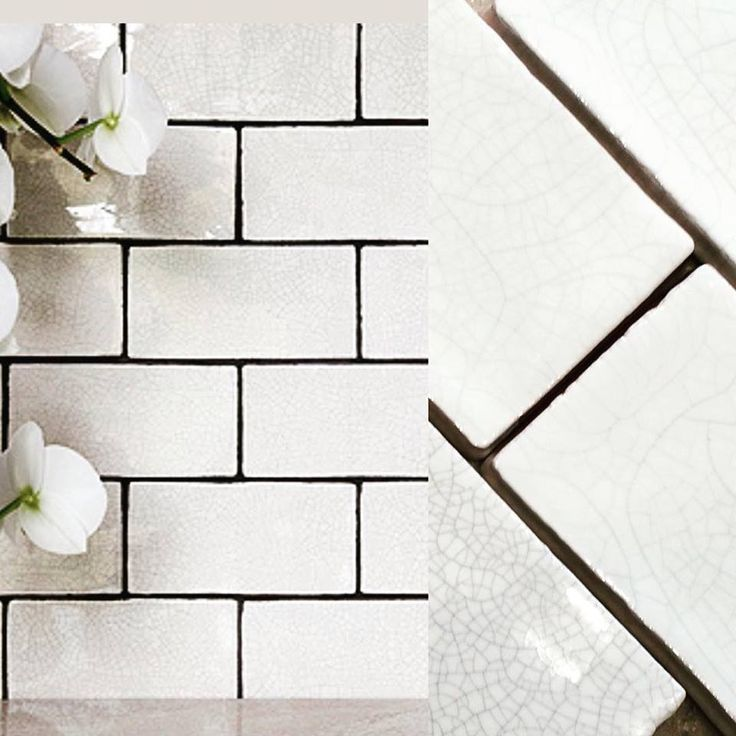 Aged Crackle Glaze tiles in white, make a stunning feature in any kitchen. from our Marlborough collection. For samples contact us 01773 836888.