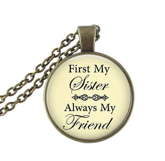 Во-первых, моя сестра всегда мой друг письмо ожерелье ювелирные изделия ручной работы стеклянный купол neckless женщины мужчины бронзовый цепи колье подарок