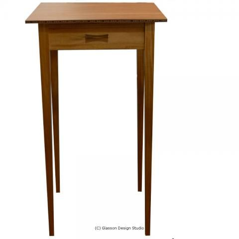 The whole table shown from the front
