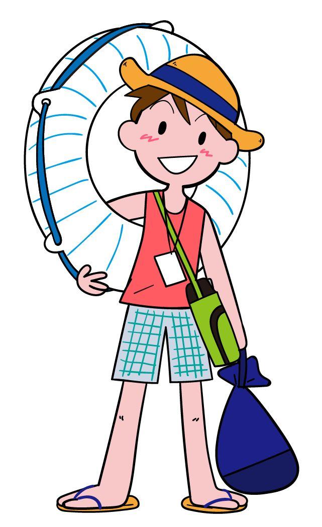 プールに出かける男の子 夏・夏休み 元気な男の子 イラスト