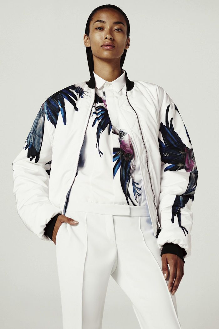 what-do-i-wear:  Barbara Bui Resort 2014. The sleek trousers and the masculine bomber jacket obviously make for a great combo and the print ...