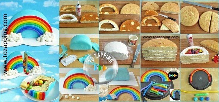 Cómo hacer una tarta piñata con forma de arco iris. Las tartas piñata se están poniendo súper de moda en los cumpleaños infantiles. La idea es súper fácil.