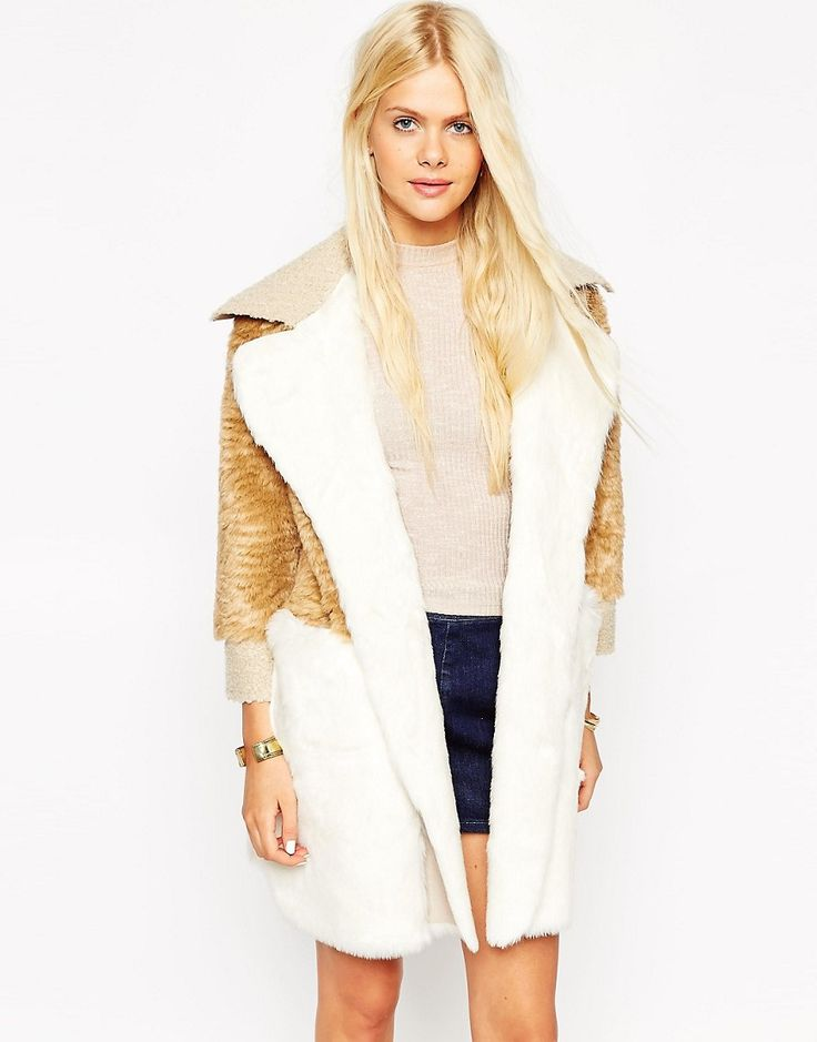 Image 1 of ASOS Coat in Patchwork Faux Fur & Faux Shearling