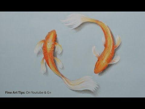 ▶ How to Draw Koi Fish With Color Pencils - Как нарисовать рыбку Кои цветными карандашами - YouTube