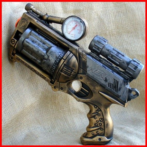 Steampunk Nerf. Ultimate protection for time travellers going back to the future.  oldjunkyardboutique on Etsy.