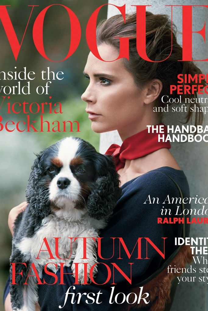 Vogue UK August 2014   Victoria Beckham by Patrick Demarchelier and a Cavalier King Charles