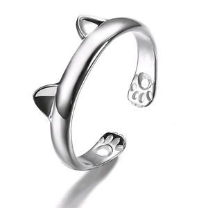 Fashion Silver Plated Kitten Cat Animal Open Rings Birthday Party Women Bridal