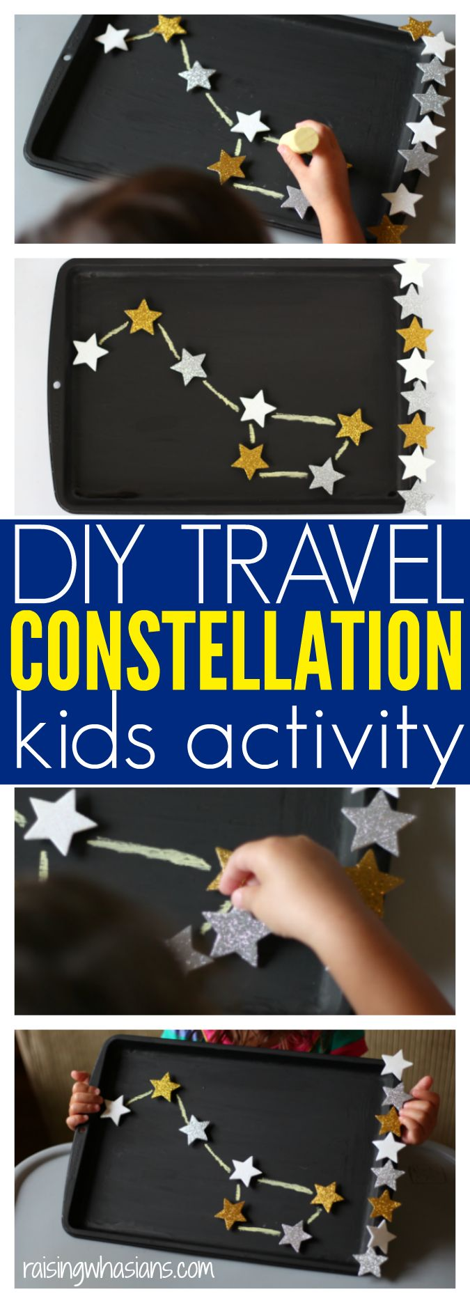 DIY Travel Constellation Activity for Kids | Make your own kids constellation activity, perfect for family travel! Fun motor skills activity for toddlers