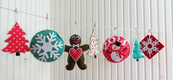 Felt Christmas Ornaments Welcome 2014 Themes by sesideco on Etsy, $48.00