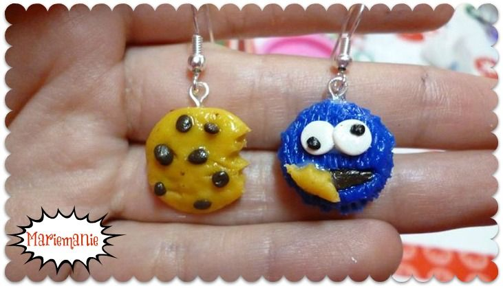 Aros Comegalletas /  Cookie Monster earrings :)