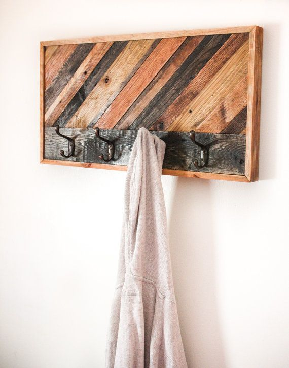 reclaimed wood coat rack  handmade  ooak  custom by usedandabused