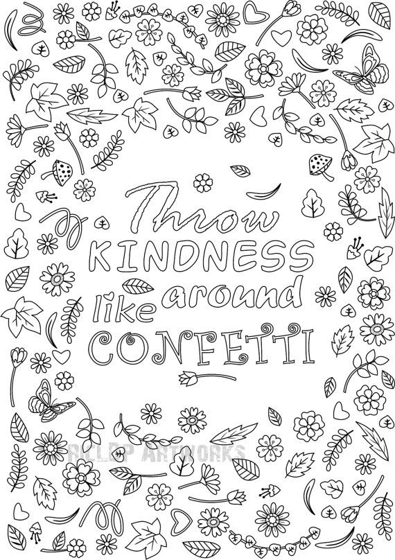 Printable quot Throw Kindness Around Like Confetti quot Coloring