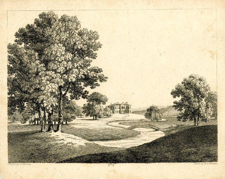 Landscape with a winding river in the middle distance; a three-story country house with an arched front window and door in the background; a winding path leading to the house passing two bridges over the river, a willow tree on the right bank next to the one farther from the viewer; trees in the foreground; after Hearne; plate 2 of an unidentified series of country houses; working proof with scratched letters. Etching