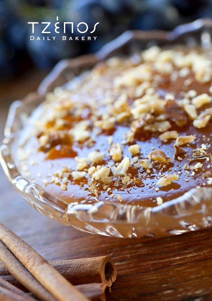 Moustalevria - A jelo type of dessert made of grape must and flour, sprinkled with cinnamon and walnuts
