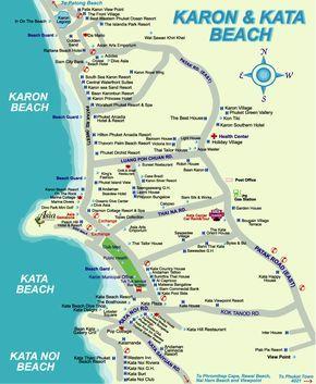 kata beach Phuket Thailand Attractions map   Karon Beach And Kata Beach Map.