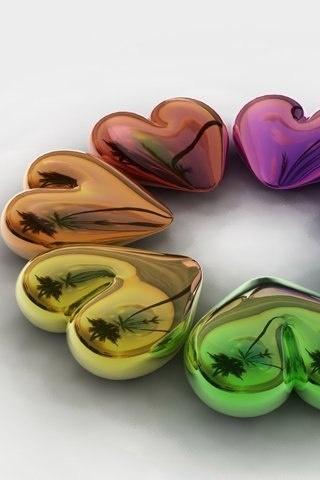 ...Shiny Heart, Heart Heart, Pretty Heart, Heart Favors, Rainbows Heart, Heart Mobiles, Multi Colors Heart, Mobiles Wallpapers, Heart Colors
