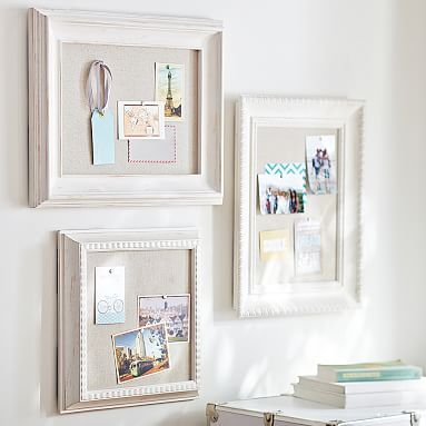 Wooden Eclectic Framed Pinboards #pbteen Could make one of these myself; like the frame idea a lot