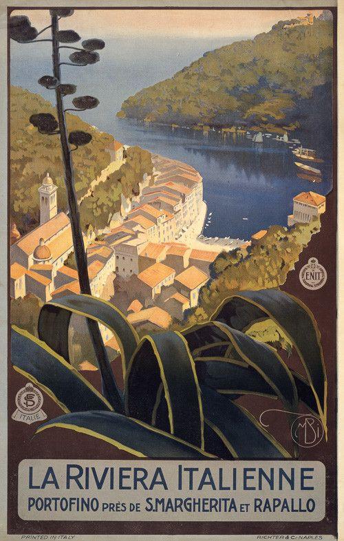 Vintage Italian travel poster, circa 1920, of the Italian Riviera at Portofino.