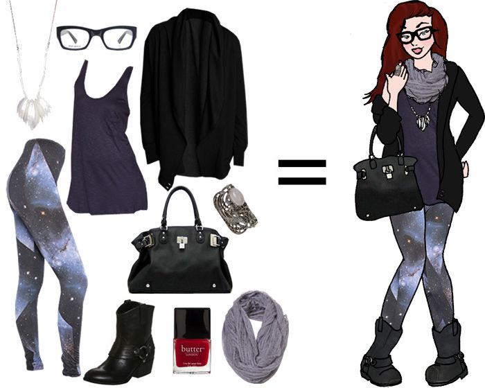 Galaxy leggings outfit - w/ fishing boots/galoshes, comet necklace, peacoat?