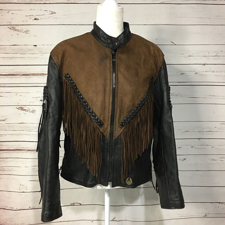Made to Order Women Cow Leather Fringed Ridding Concho Two Tone Western Jacket - Coats & Jackets