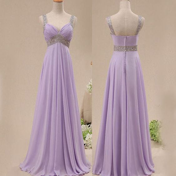 purple prom dress,chiffon Prom Dress,long prom dress,Cheap prom dress,bridesmaid dress, With beads prom dresses