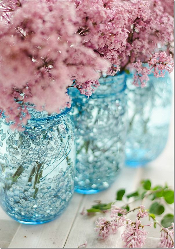 Blue and sequin Ball mason jar vase DIY - simple